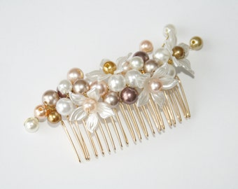 Beaded flower hair comb gold brown