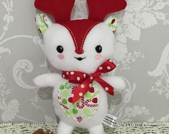 Reindeer Soft Toy white red colour