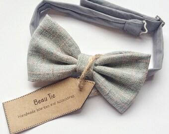 mens bow tie vintage tweed, tweed bow tie, blue bow tie, vintage bow tie, wool bow tie