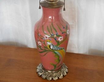 Reverce Painted Glass Parrot Lamp