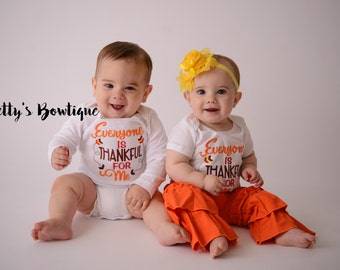 Baby Girl Thanksgiving Outfit Set – Everyone is Thankful for Me T Shirt, Ruffled Pants & Flower Headband-- Twins Outfit -- Gender Neutral