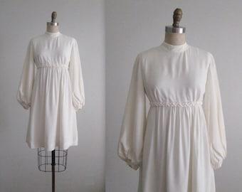 Vintage 1960's Emma Domb white empire waist dress