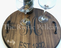 Wine Barrel - Lazy Susan - Personalized -Hand Painted Wall Plaque -Reclaimed wood - Rustic Decor - Bar - Wine Cellar - Distillery - Weddings