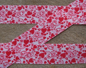 3 yards Valentine Flower Red Hearts Grosgrain Hair Bow Printed  Ribbon 1""
