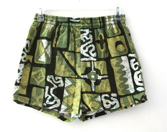 Vintage 60s Hawaiian shorts barkcloth swim trunks mens
