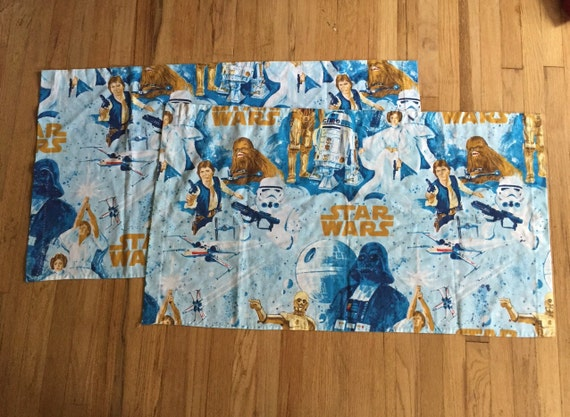 Vintage star wars sheet curtains set of 2 valances flat fabric for Star curtain fabric