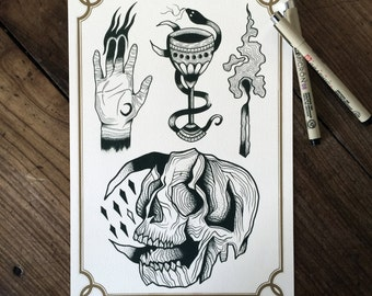 LIMITED Esoteric Sacrifice - Tattoo print 50/50 signed