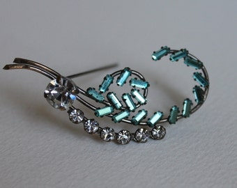 Aquamarine and Rhinestone Vintage Brooch Pin