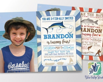 Fishing Birthday Invitation Boy, Birthday Party with Bass Fish, Blue Marlin, DIY
