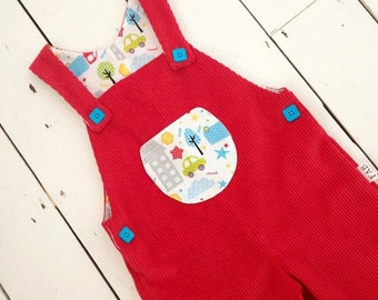 Boys Red Dungarees, Cord Dungarees, boys clothes, boys clothing, toddler clothes, toddler clothing, boys pants, trousers, 18-24 months.