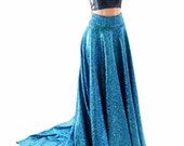 Full Length High Waist Puddle Train Skirt in Turquoise on Black Shattered Glass Holographic  (SKIRT ONLY) 152813