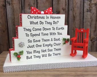 Christmas in Heaven Poem memorial table top wood sign
