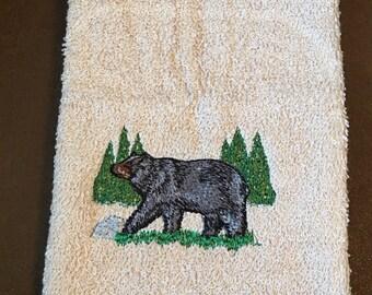 Embroidered ~BLACK BEAR~ Kitchen Bath Hand Towel