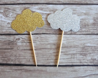 Set of 10+ Clouds Cupcake Toppers - Baby Shower Decorations, Baby Shower Toppers