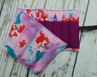 Little Mermaid Crayon Roll, Crayon Organizer, Stocking Stuffer, Kids Gift