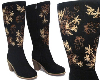 Handmade felt high heel boots for women, floral pattern embroidered black color knee high zip up boot, Made in Turkey shoes booties footwear