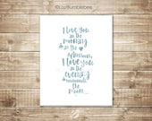 I love you in the morning and in the afternoon! |  Instant Printable digital Illustration | INKED | BLUE | Home Decor | LostBumblebee |