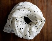 Linen scarf: stamped sky, black and white stars, simple modern sustainable fashion shawl, eco friendly block printed nature design