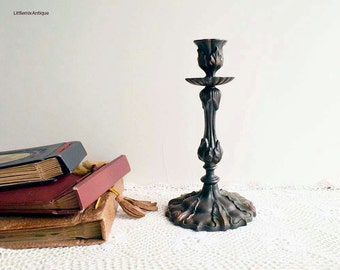 Vintage Soviet Era Russian Shabby Chic Rustic Ornate Metal Candlestick. Made in USSR