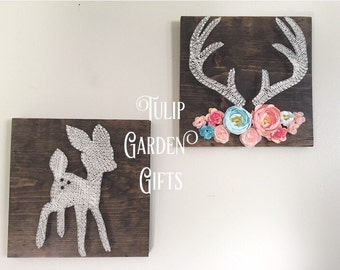 Little Deer String Art, Deer String Art, Baby Deer String Art, Antlers with Flowers, Antler String Art, Deer Nursery Decor, Floral Antlers