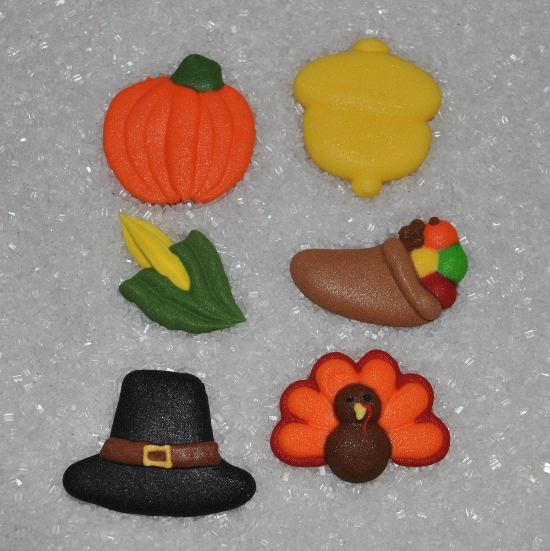 Edible Cake Images Thanksgiving : 24 Royal Icing Edible Thanksgiving Cake Decorations Cupcake