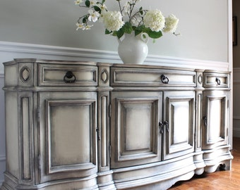 SOLD to JANICE - PULASKI Buffet Sideboard - Swedish Gustavian Style Hand Painted Shabby Chic Weathered Neutral Gray Console Cabinet