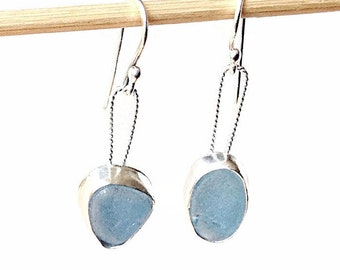 Baby Blue Sea Glass Earrings, Handcrafted Sterling Silver Metalwork Jewelry, English Beach Glass Earrings