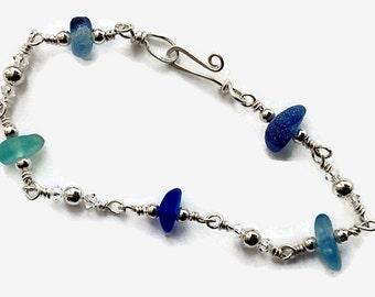 Blue Sea Glass Bracelet, Sterling Silver Jewelry, Sea Inspired Beach Glass Bracelet