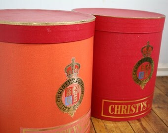 Pair of iconic Christies hat boxes