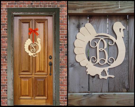 Wood Turkey Monogram, Thanksgiving Door Décor, Fall Door Décor, Door Hanger, Turkey Door Hanger, Wood Monogram, Wooden Turkey, Thanksgiving