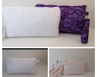 Lace Wristlet with Zipper, Bridal wristlet, Bridesmaid  Purse, Wedding, Bag, cellphone case