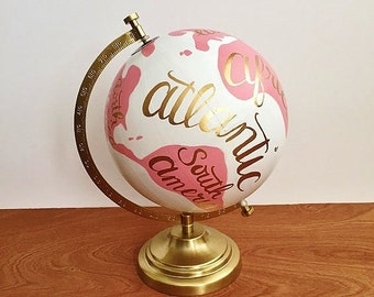 Painted globe, hand painted world globe, hand painted globe, travel globe, pink and white, nursery decor, office decor, dorm decor