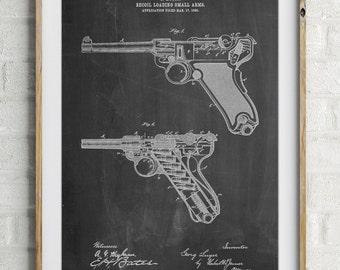 Luger Pistol Patent Poster, Pistol, Firearm, Police Gift, Gun Enthusiast, Gun Art, PP0947