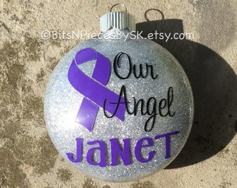 Pancreatic cancer, Cystic fibrosis, Leimyosarcoma, Testicular cancer, Hodgkins, Alzheimers, Awaress Ribbon - Personalized Christmas Ornament