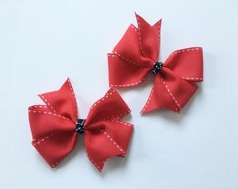 Red Pinwheel Hair Bow with White Stitching and Black Center, Pinwheel Hair Bow