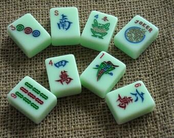 Sea Green Mahjong Tiles - Mahjong Tiles for Crafts - Mahjongg Supplies