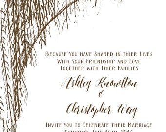 Rustic Willow Tree Wedding Invitation