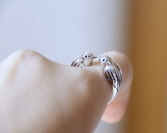 Sterling Silver Two Birds Ring. Adjustable Ring. Animal Ring