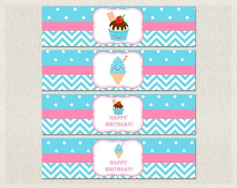 Printable Water Bottle Labels Wraps Birthday Ice Cream Pink 1st 2nd 3rd Blue Girl IV-13