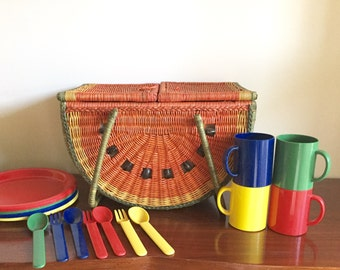 Vintage Watermelon Picnic Basket with Dishes