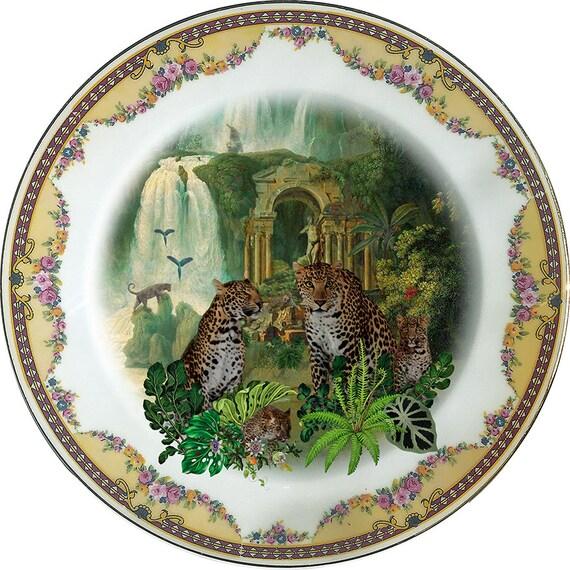 Leopards - Vintage Porcelain Plate - #0381