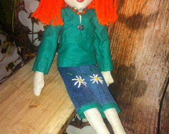 Handmade Cloth Doll Red Hair Traditional Tilda Elegant Chic with necklace and jacket embroidery