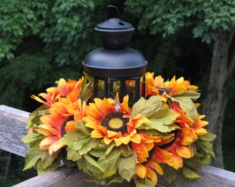 Sunflower Lantern Centerpiece Fall Silk Floral Arrangement, Large Sunflowers, Black Lantern on Wood Slice for Rustic Wedding or Home Decor