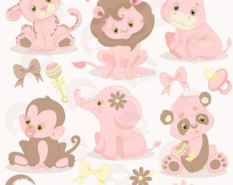 Jungle Animals Clipart, Jungle Animal Babies, Pink Baby Animals, Baby Shower clipart, commercial use, AMB-1209
