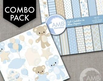 COMBO Teddy bear, nursery, slumber party, baby boy, bear, Digital Clipart and Digital paper, Boy birthday clipart AMB-1601