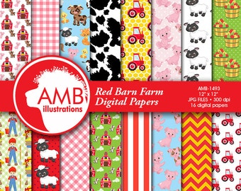 Red Barn digital papers, Farm digital papers, Animal papers, Red tractor papers, cow paper, farm critter pattern,  AMB-1493