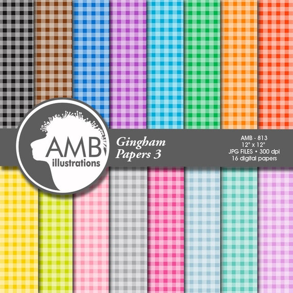 80off Gingham Digital Papers Pastel Papers Checkered Papers