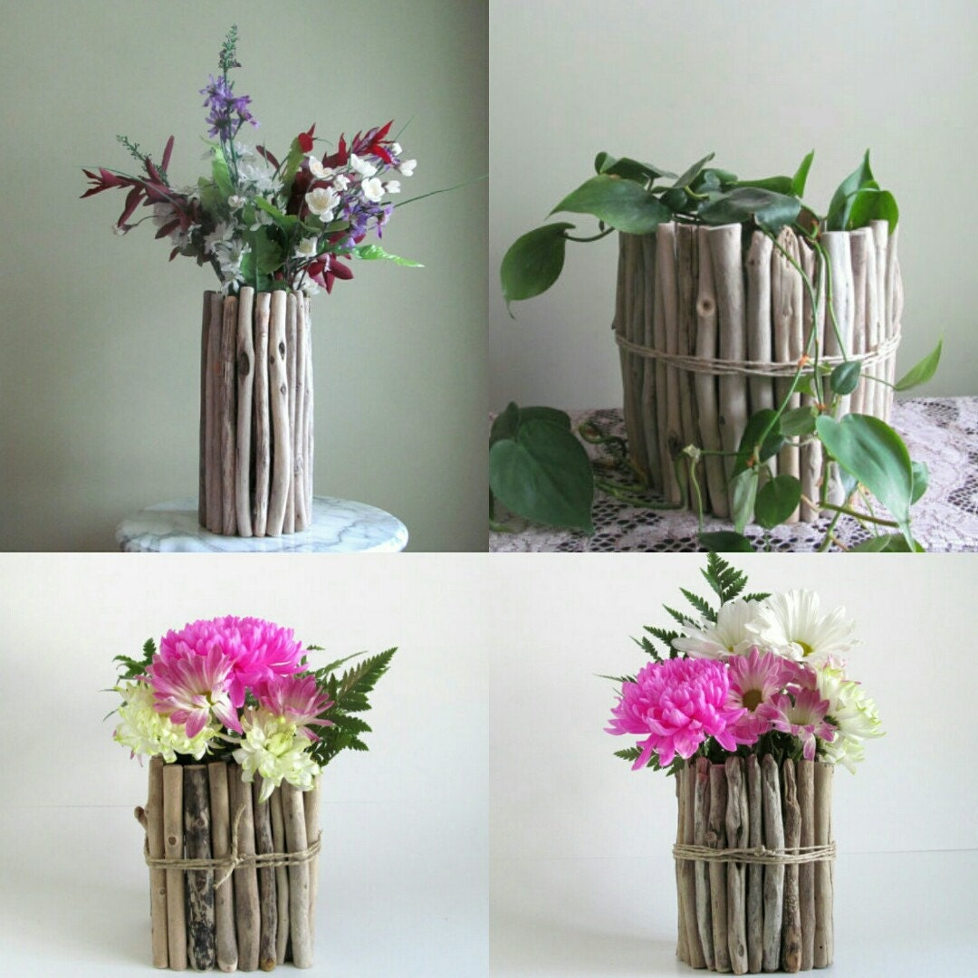 Tall thin driftwood vase centerpiece flower