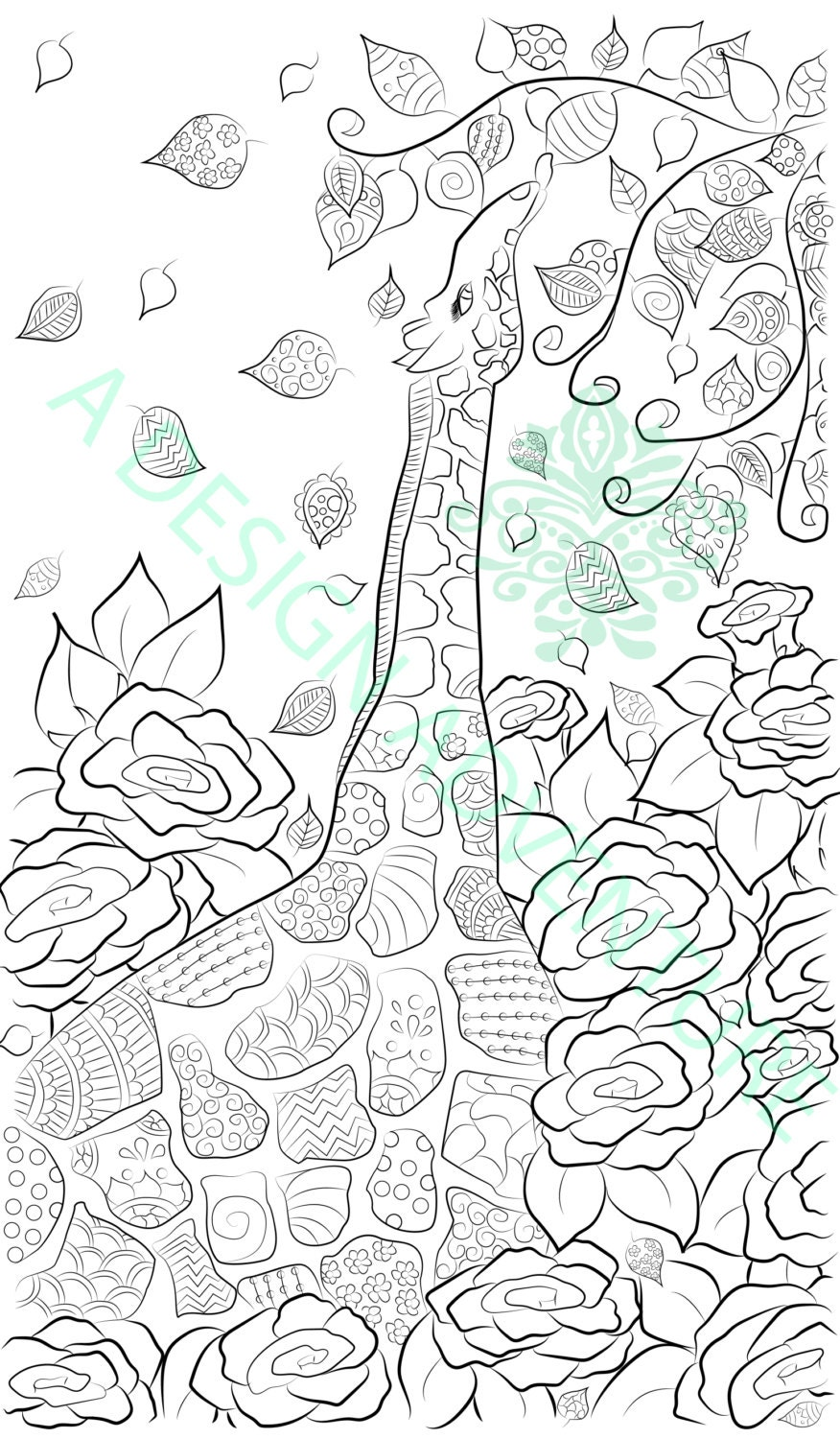 Printable Quilting Patterns For Coloring : Adult Coloring Page Printable Simple Pattern Giraffe Quilt