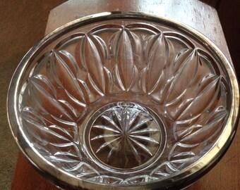 Vintage Silver Rimmed Glass Bowl